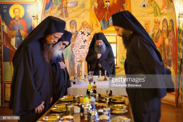 Greece, Chalkidiki, Mount Athos, listed as World Heritage, Simonos Petra monastery, The Dining Hall