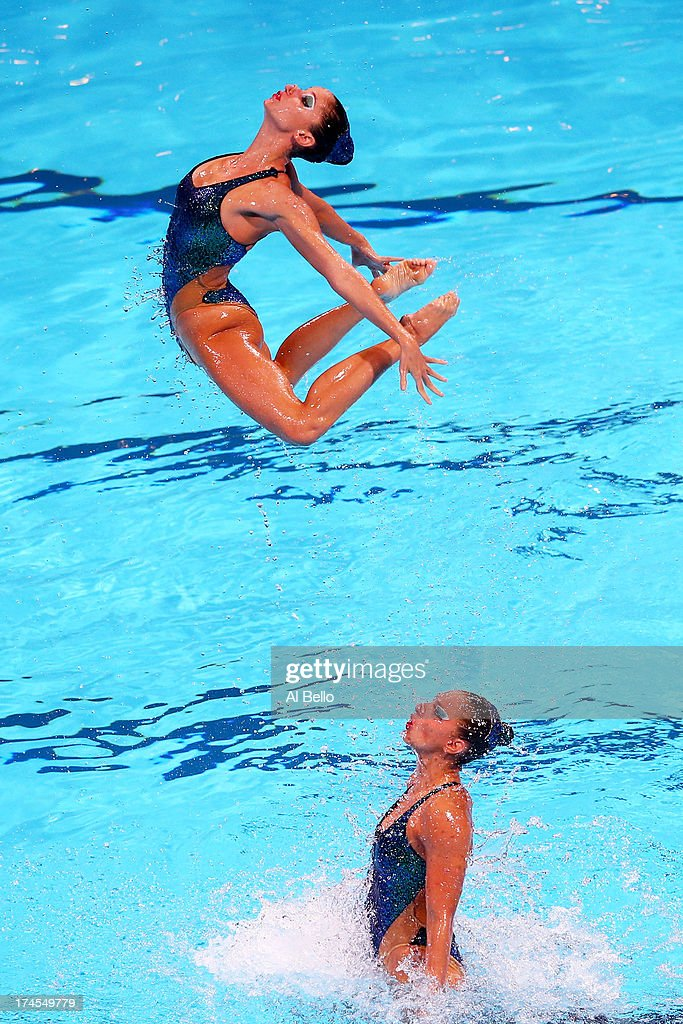 Greece compete during the Synchronized Swimming Free Combination Final on day eight of the 15th FINA World Championships at Palau Sant Jordi on July...