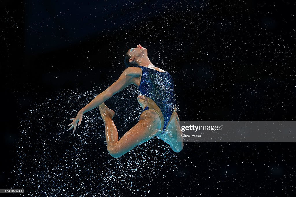 Greece compete in the Synchronized Swimming Free Combination preliminary round on day two of the 15th FINA World Championships at Palau Sant Jordi on...