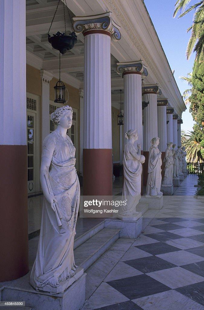 Greece, Corfu, Achillion Palace (villa Of The Empress Sisi), Patio,