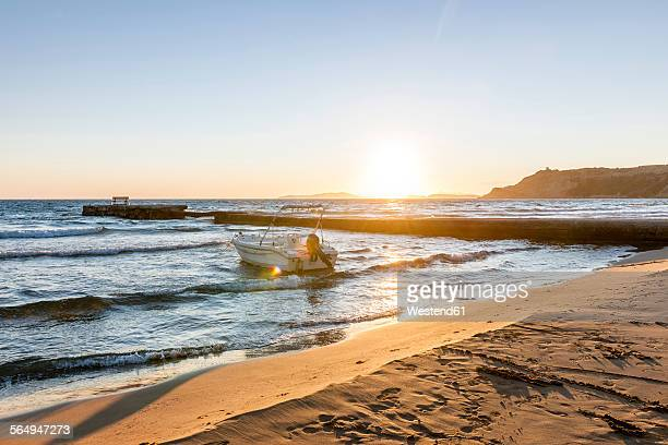 Greece, Corfu, Arillas beach in the evening