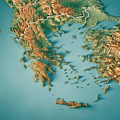 3D Render of a Topographic Map of Greece. All source data is in the public domain. Color texture: Made with Natural Earth.  http://www.naturalearthdata.com/downloads/10m-raster-data/10m-cross-blend-hy