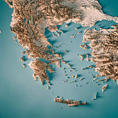 3D Render of a Topographic Map of Greece. All source data is in the public domain. Relief texture and Rivers: SRTM data courtesy of USGS. URL of source image:  https://e4ftl01.cr.usgs.gov//MODV6_Dal_D