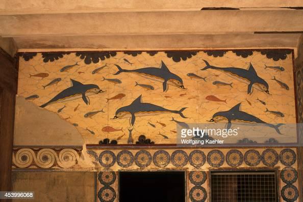 Greece Crete Herakleon Palace Of Knossos The Queen's Megaron And Dolphin Fresco