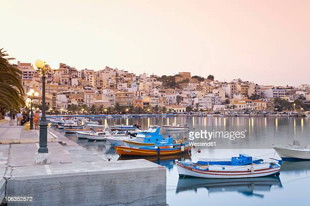 Greece, Crete, Sitia, View of harbour with city in background