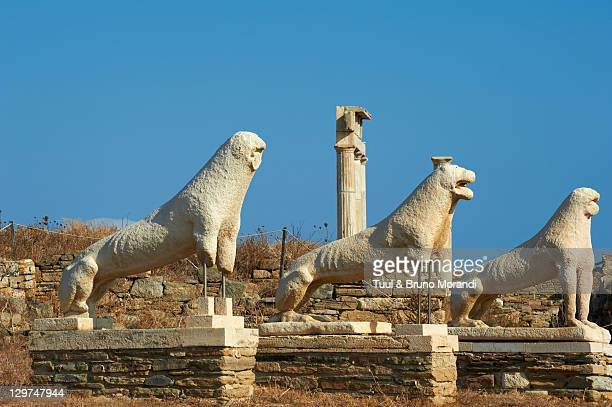 Greece, Cyclades, Delos, terrace of the Lions