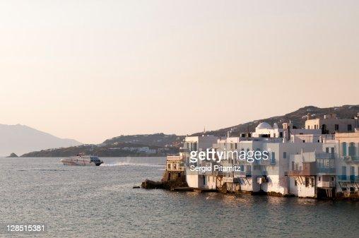 Greece, Cyclades Islands, Mykonos, Mykonos Town, Little Venice, Buildings at the waterfront : Stock Photo