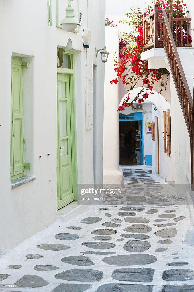 Greece, Cyclades Islands, Mykonos, Traditional building exteriors