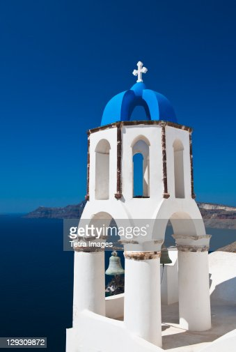 Greece, Cyclades Islands, Santorini, Oia, Church bell tower at coast
