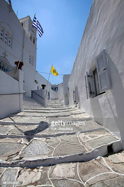 Greece Cyclades Islands Sifnos Island Apollonia Town Portrait format low angle photograph of a typical alley found only at Cyclades island complex...