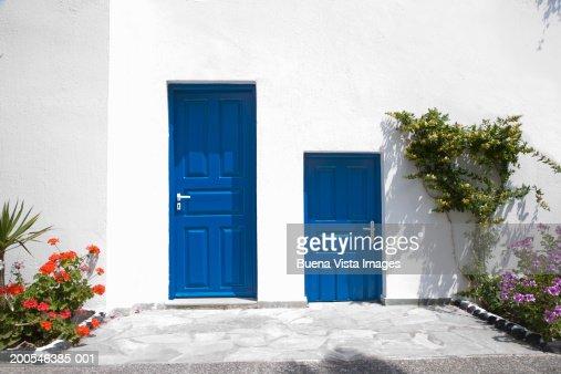 Greece, Cyclades, Santorini, Fira, house with blue door : Stock Photo