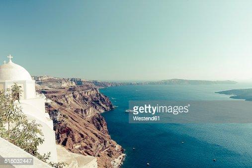 Greece, Cyclades, Santorini, Thera, view to caldera