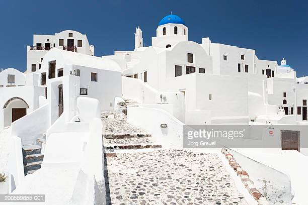 Greece, Cyclades, Santorini, traditional houses, low angle view