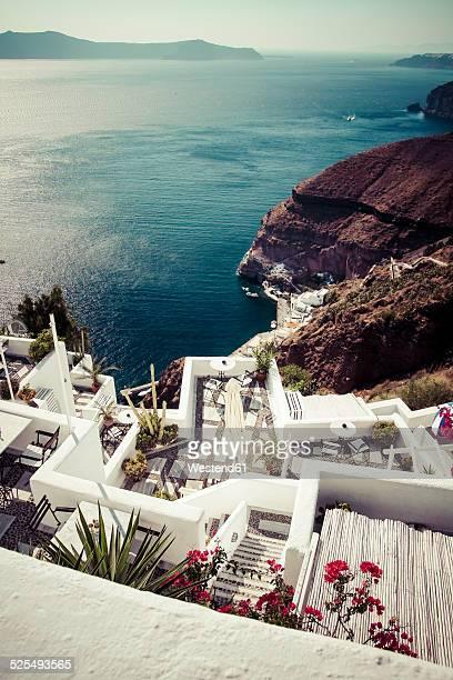 Greece, Cyclades, Santorini, view to a restaurant at the Caldera