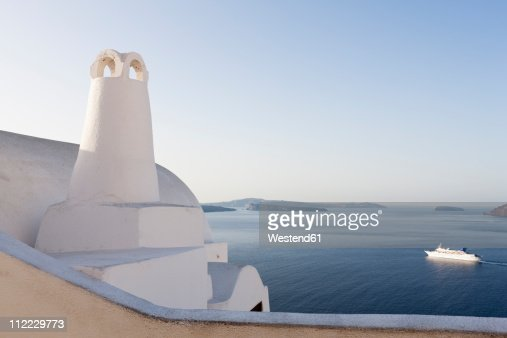 Greece, Cyclades, Thira, Santorini, Oia, View of chimney with caldera