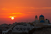 Greece, Cyclades, Thira, Santorini, View of oia at sunset