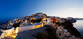 Greece, Cyclades, Thira, Santorini, View of oia before sunrise