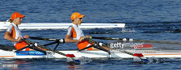 Dutch Kirsten van Der Kolk and Marit va Eupen power during the Lightweight Women's Double Sculls semifinal in the Athens 2004 Olympic Games at the...