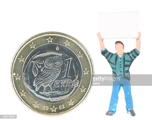 Greece Euro coin with demonstrating man figurine next