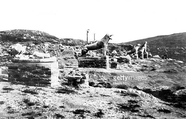 Greece Excavations at Delos The terrace of the lions on the west bank of the sacred lake