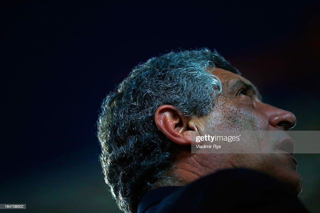 Greece head coach Fernando Santos looks on ahead of the group G FIFA 2014 World Cup Qualifier match between Greece and Liechtenstein at Karaiskakis Stadium on October 15, 2013 in Athens, Greece.