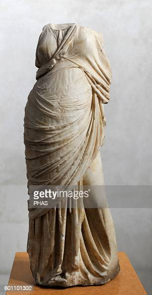 Greece Hellenistic period Statue of a woman Marble Ashkelon 2nd century BC Rockefeller Archaeological Museum Jerusalem Israel
