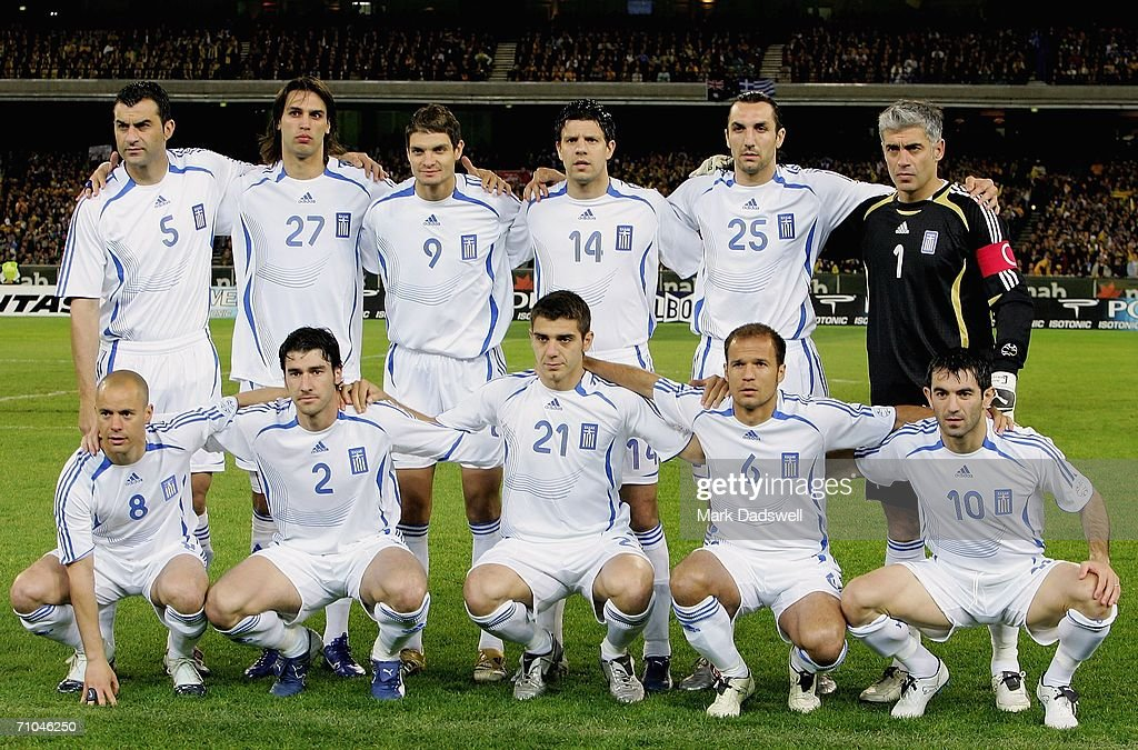 Greece line up prior to the Powerade Cup international friendly match between Australia and Greece at the Melbourne Cricket Ground May 25, 2006 in Melbourne, Australia.