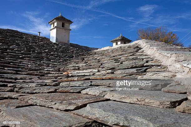 Greece Macedonia Pilio Portaria Greek village house traditional roof with chimneys made from stone
