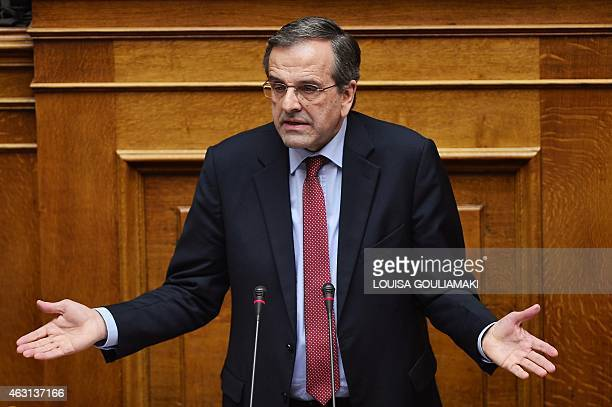 Greece main opposition party leader Antonis Samaras speaks during a parliament session ahead of the confidence vote of the new government on February...