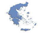 3d rendering of a Greece map on white background.