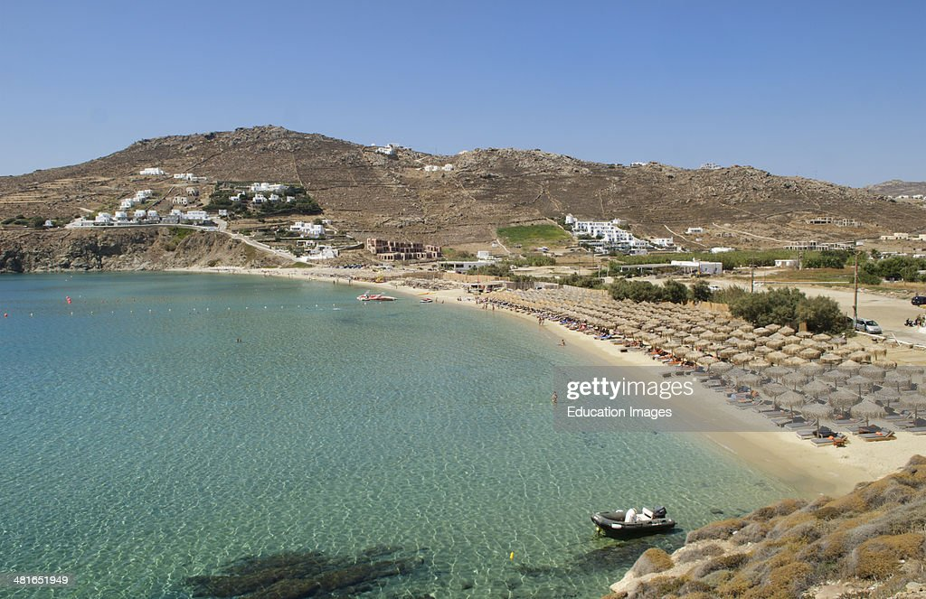 Greece Mykonos Paradise Beach Kalo Livadi resort that singles come to relax from above