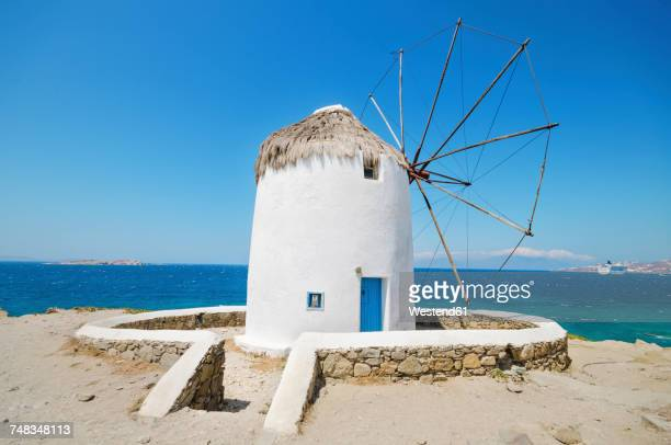 Greece, Mykonos, view of traditional windmill