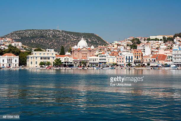 Greece North East Aegean Lesvos Island Mitilini harbor with the sea at the foreground and blue sky