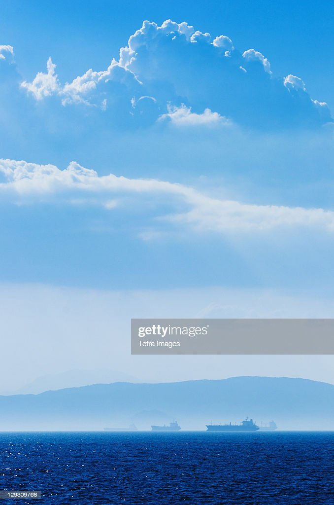 Greece, Oil tankers and cargo ships on Aegean Sea : Stock Photo