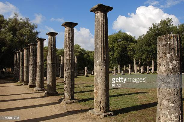 Greece Peloponesse Olympia Santuary of ancient Greece in Elis Palaestra Hellenistic Period Ruins Doric order Colonnade