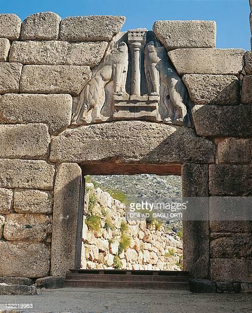 Greece Peloponnese Archaeological site of Mycenae Lion Gate interior