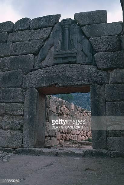 Greece Peloponnese Archaeological site of Mycenae Lion Gate