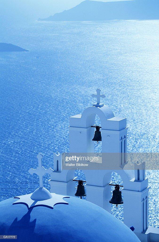 Greece, Peloponnesus, Thera, Kinisis Thotokov Church, exterior and sea : Stock Photo