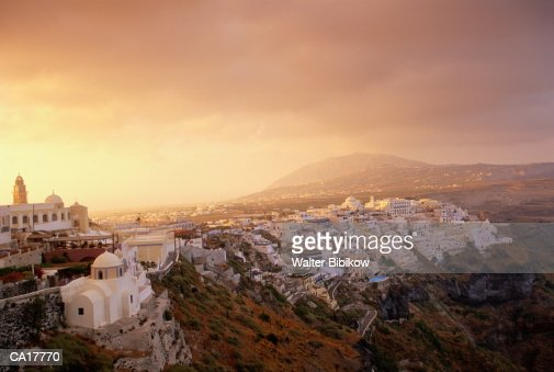 Greece, Peloponnesus, Thera, scenic, dawn : Foto de stock