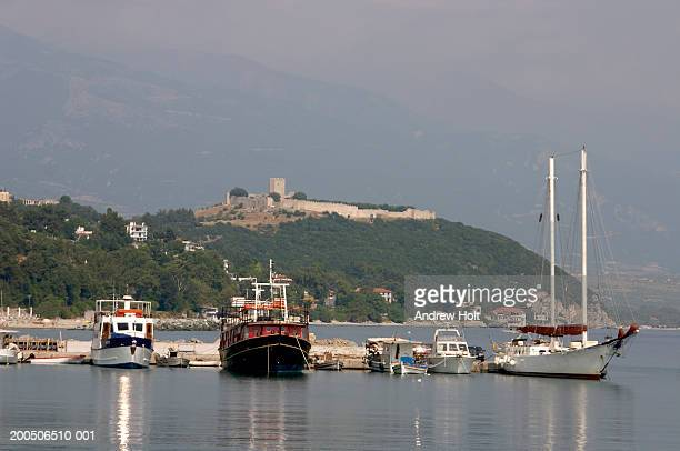 Greece, Platamonas Town, boats moored in harbour
