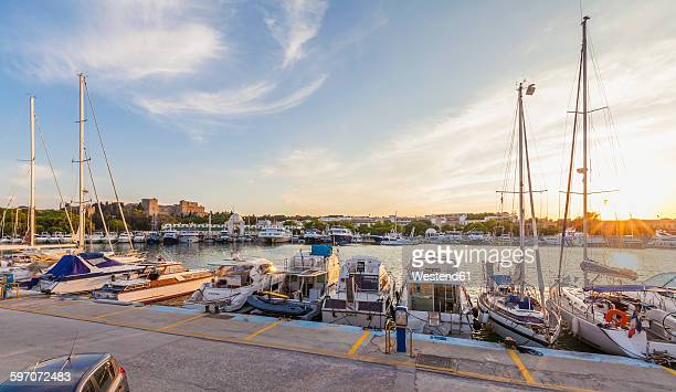 Greece, Rhodes, boats at Mandraki harbour