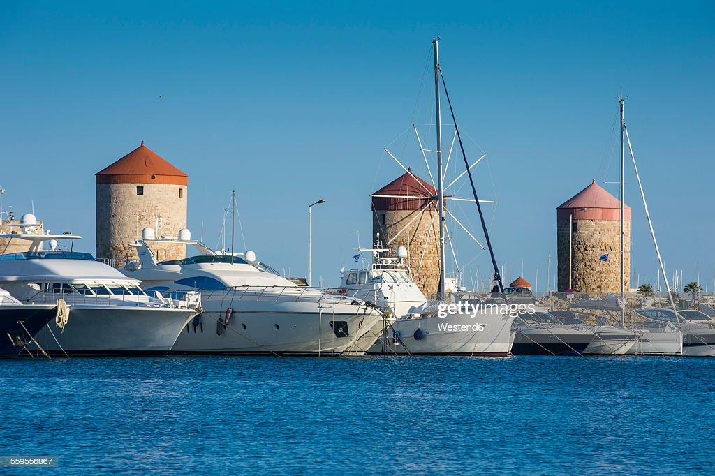 Greece, Rhodes, Medieval windmills at Mandraki harbour