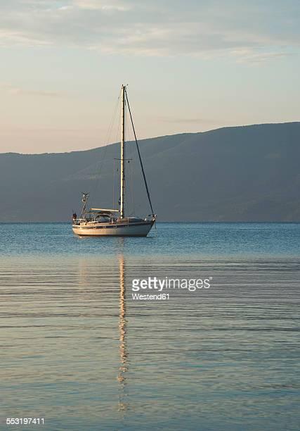 Greece, sailing boat at Mediterranean Sea