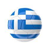3d soccer ball with greece flag