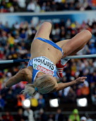 Greece's Adonia Steryiou competes in the women's high jump final at the 2012 European Athletics Championships at the Olympic Stadium in Helsinki on...