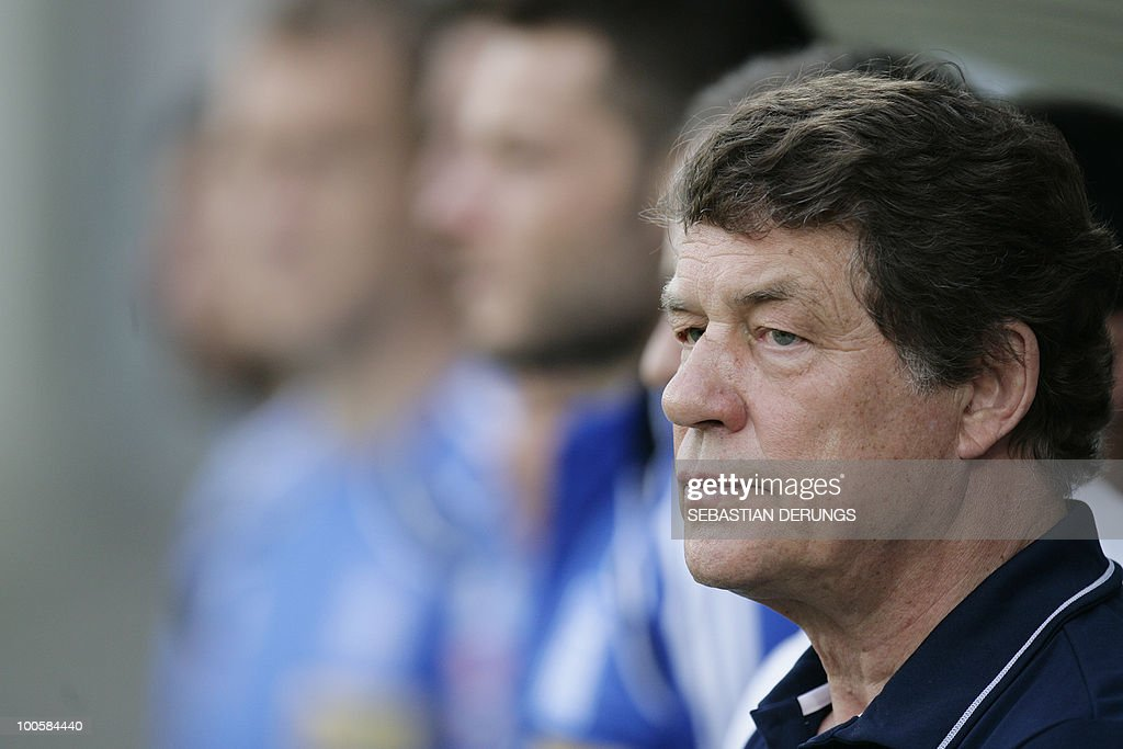 Greece's coach Otto Rehhagel observes a friendly football game against North Korea in Altach on May 25, 2010 ahead of their participation to the FIFA World Cup 2010 in South Africa.