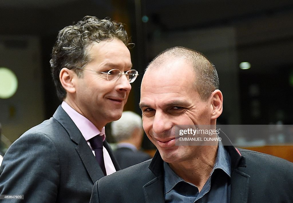 Greece's Finance Minister <a gi-track='captionPersonalityLinkClicked' href=/galleries/search?phrase=Yanis+Varoufakis&family=editorial&specificpeople=13872964 ng-click='$event.stopPropagation()'>Yanis Varoufakis</a> (R) and Eurogroup President and Dutch Finance Minister <a gi-track='captionPersonalityLinkClicked' href=/galleries/search?phrase=Jeroen+Dijsselbloem&family=editorial&specificpeople=9751962 ng-click='$event.stopPropagation()'>Jeroen Dijsselbloem</a> arrive to take part in a European economic and financial affairs (ECOFIN) meeting at the European Council in Brussels, on February 17, 2015. AFP PHOTO/Emmanuel Dunand