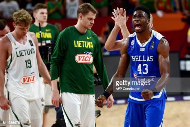 Greece's forward Thanasis Antetokounmpo celebrates after winning against Lithuania the FIBA Eurobasket 2017 men's round 16 basketball match at Sinan...