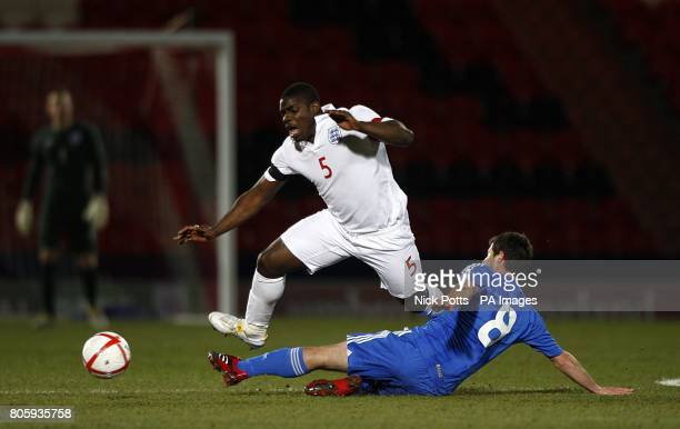 Greece's Giannis Papadopoulos and England's Micah Richards battle for the ball