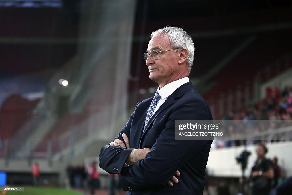 Greeces head coach Claudio Ranieri attends the UEFA Euro 2016 group F qualifying football match between Greece and Faroe Island at the Karaiskaki...
